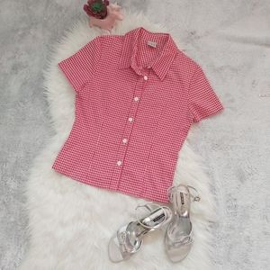 Gingham Print Retro Pin Up Button Down Blouse